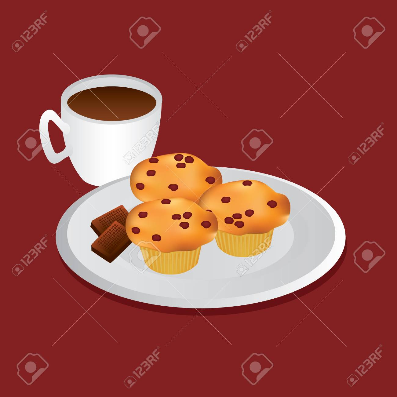 Muffins And Cup Of Coffee Royalty Free Cliparts Vectors And Stock Illustration Image 7817804