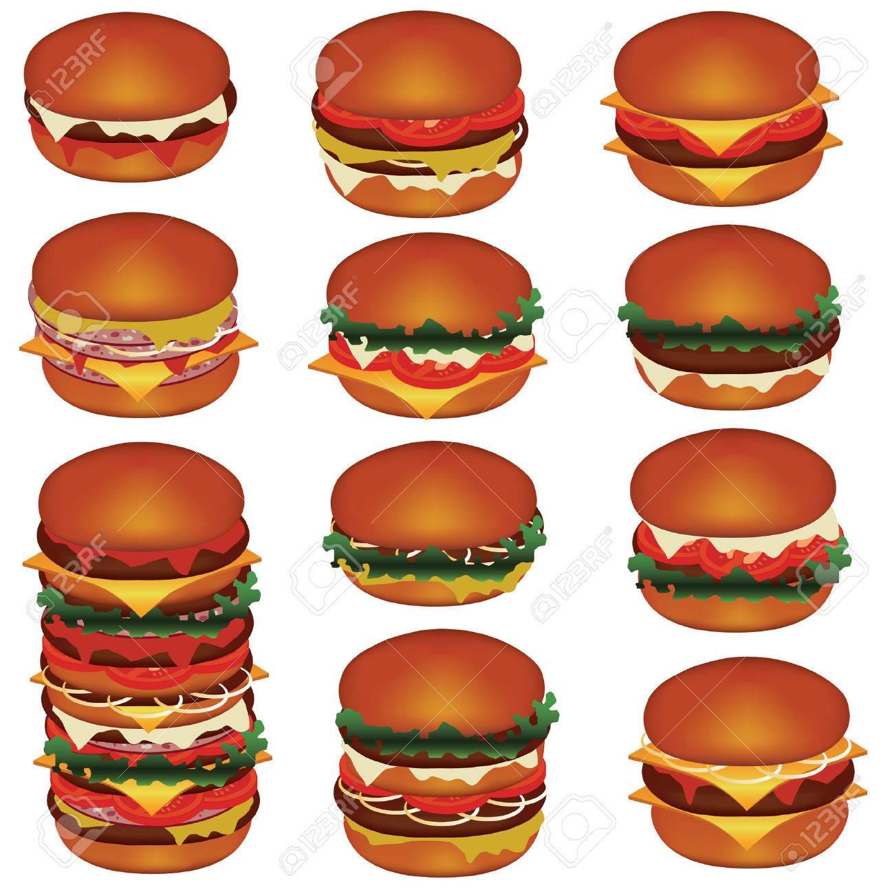 set of tasty hamburgers with meat, cheese, tomato, salat Stock Vector - 8093670
