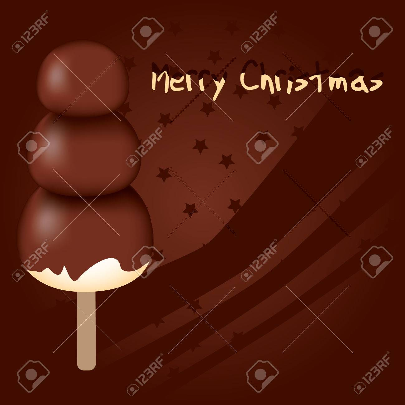 merry christmas - chocolate snowman on the brown background Stock Vector - 8183703
