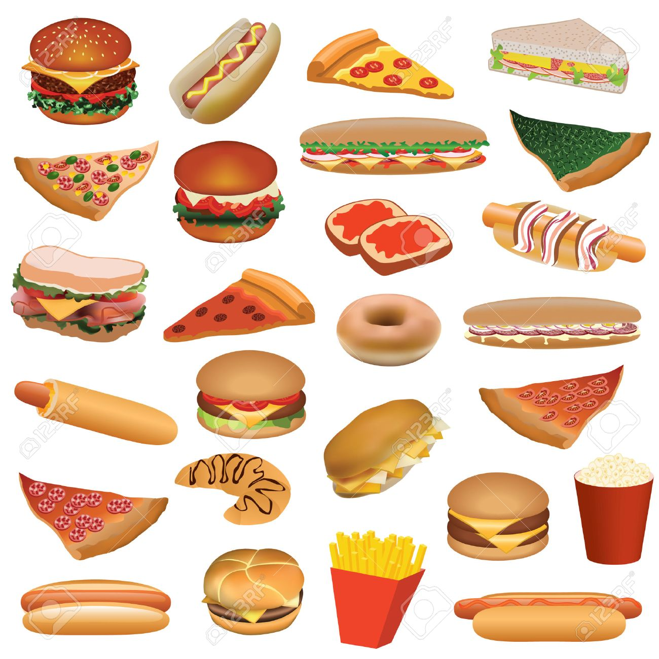big fast food set Stock Vector - 8801743