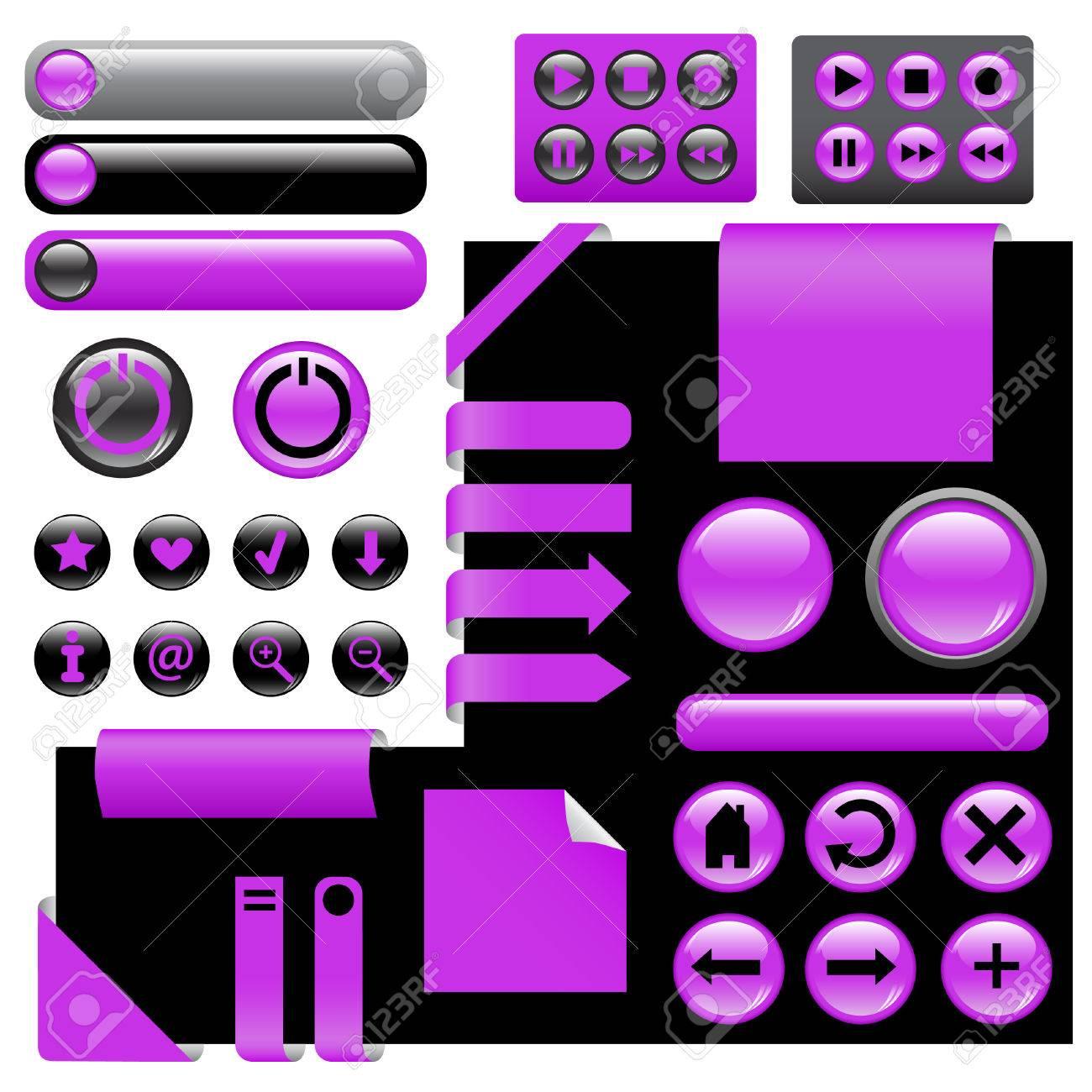 website design elements - buttons in violet color Stock Vector - 8978196