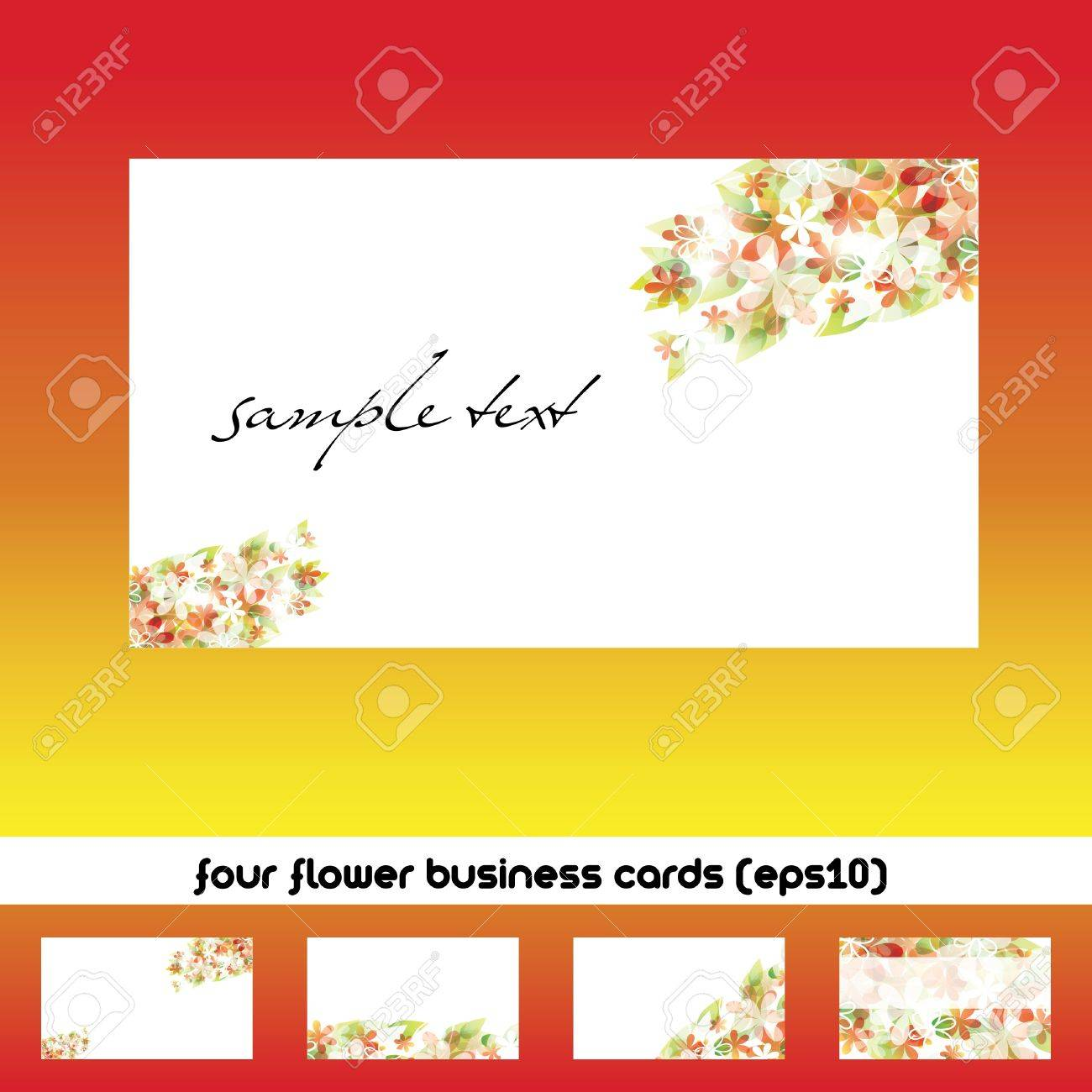 four business cards with flower theme Stock Vector - 9573230