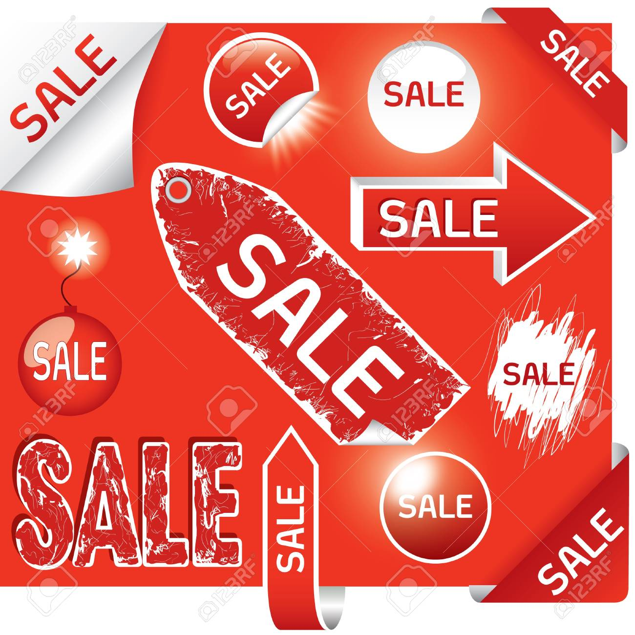 set of sale labels - red and white colors, EPS10 Stock Vector - 9717189