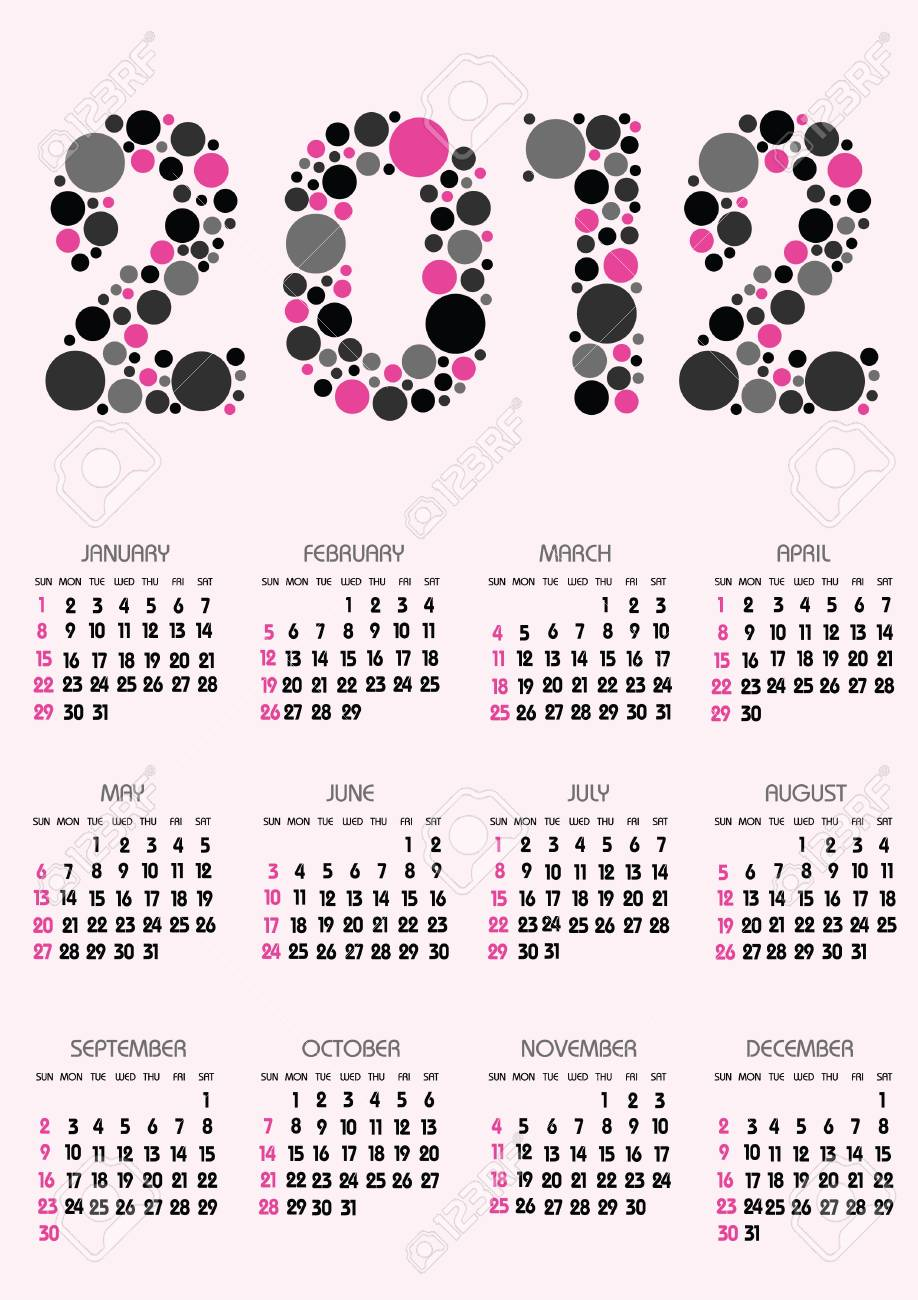 Vertical Calendar 2012 Year With Retro Dots Theme Royalty Free ...