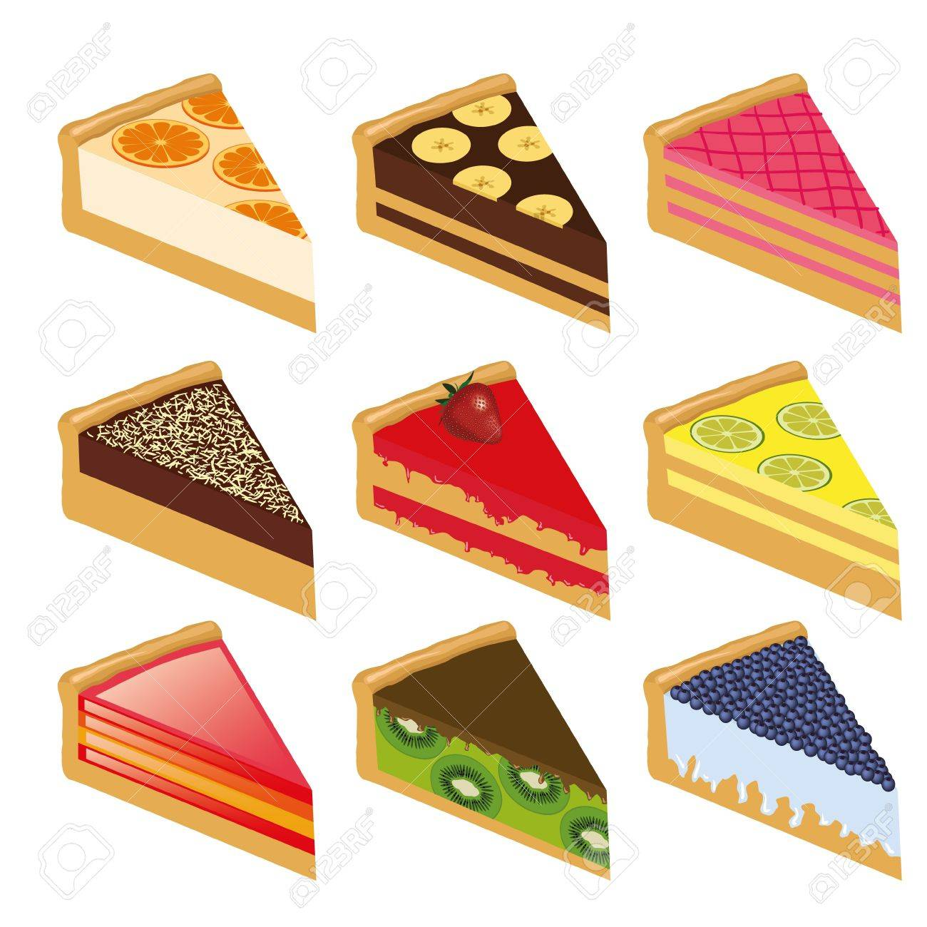 collection of nine sweet cakes Stock Vector - 10997594