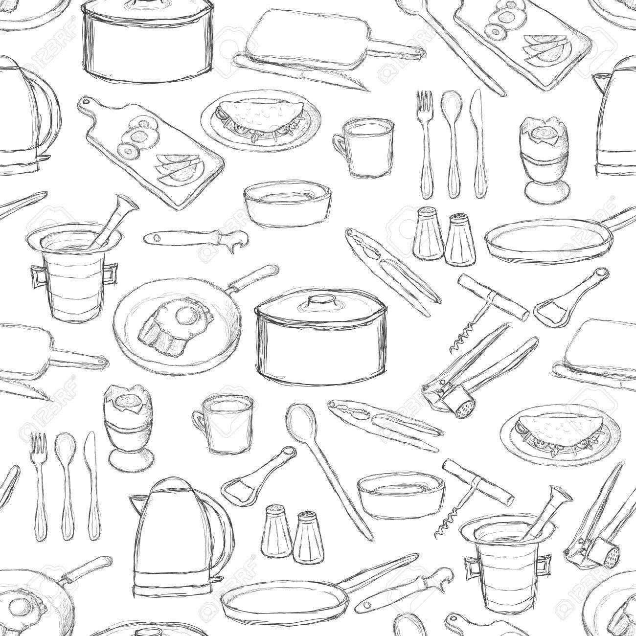 kitchen equipment pattern Stock Vector - 10997596