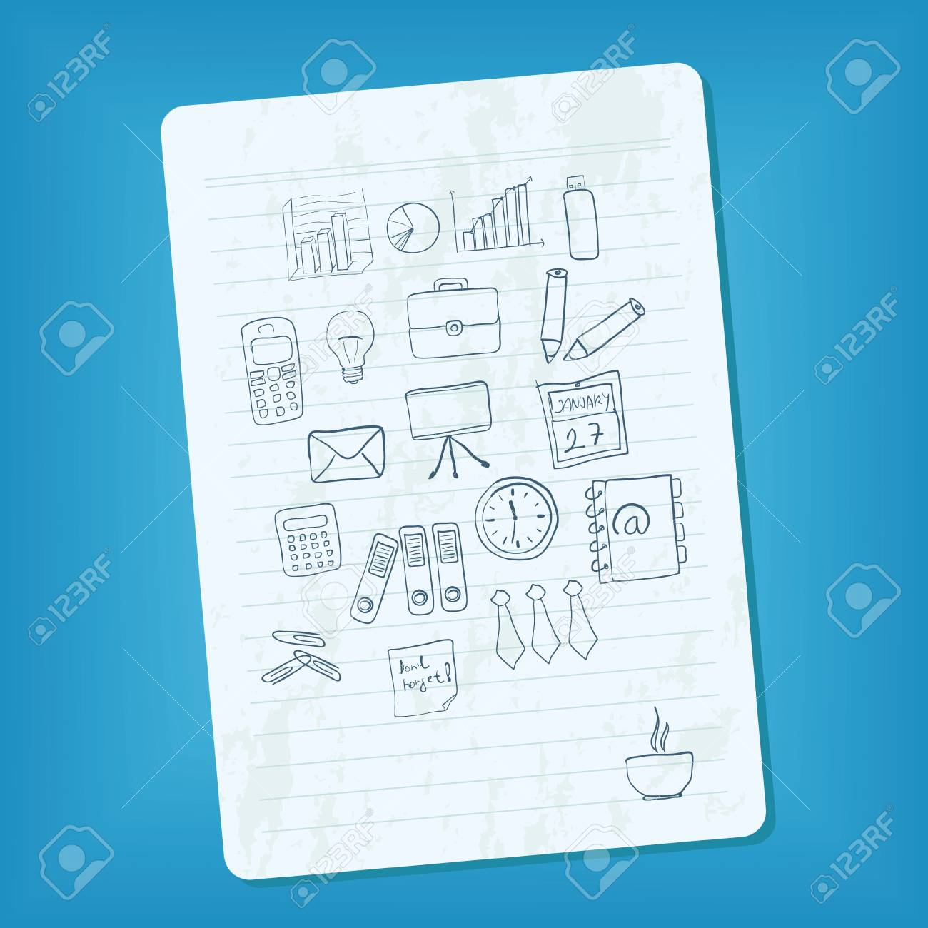 notebook page with doodle business pictures Stock Vector - 11538556