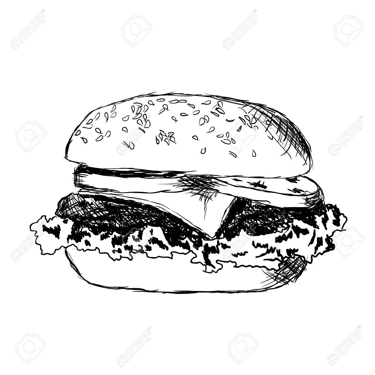 hamburger with meat, lettuce, cheese and tomato Stock Vector - 12377558