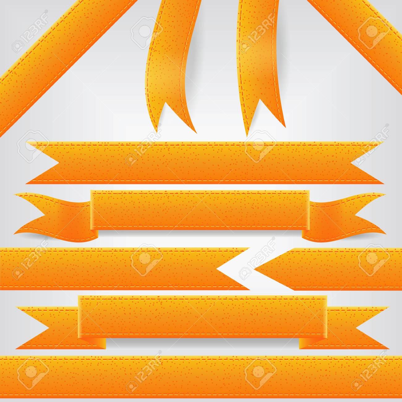 set of orange ribbons Stock Vector - 13811486