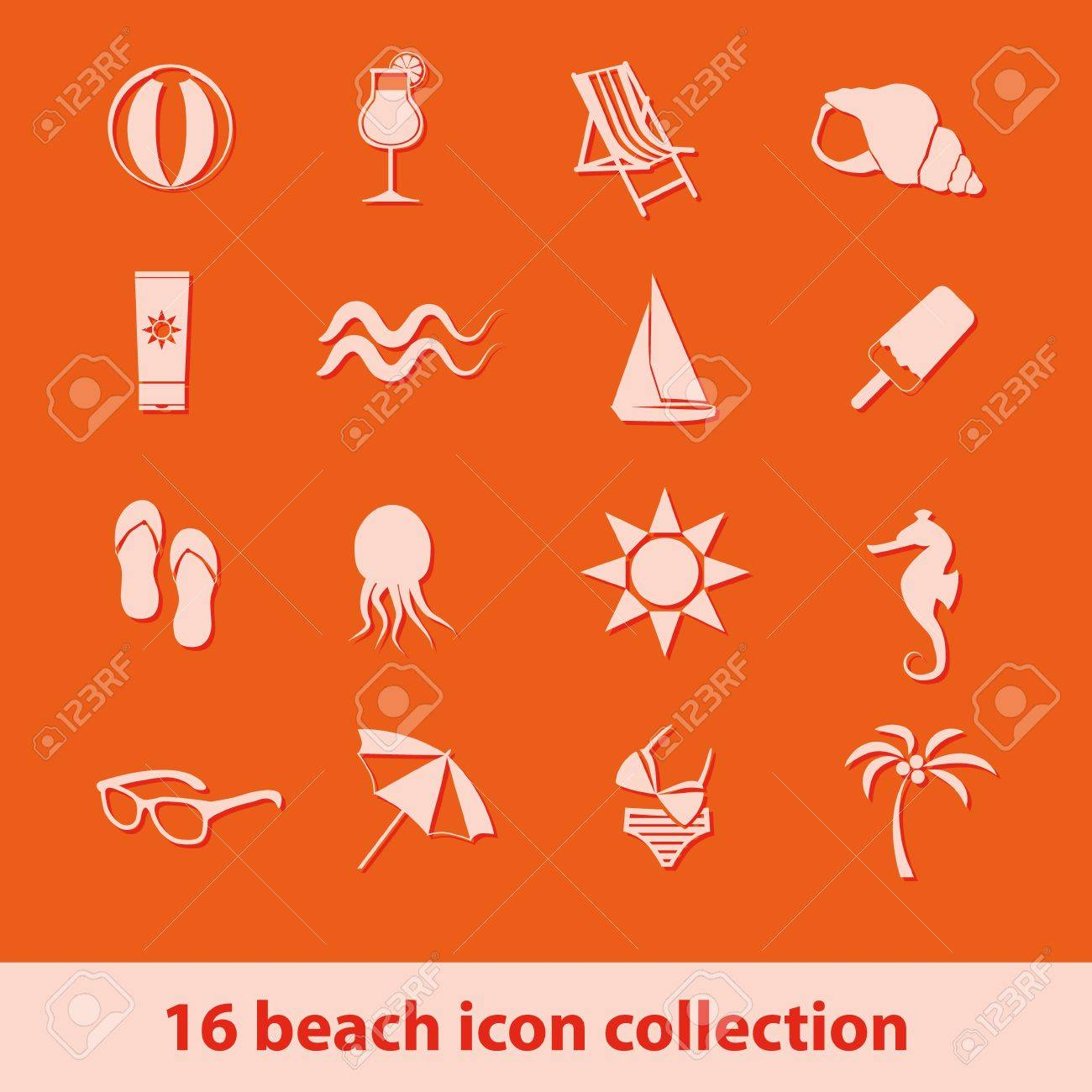 set of 16 beach icon collection Stock Vector - 14408455