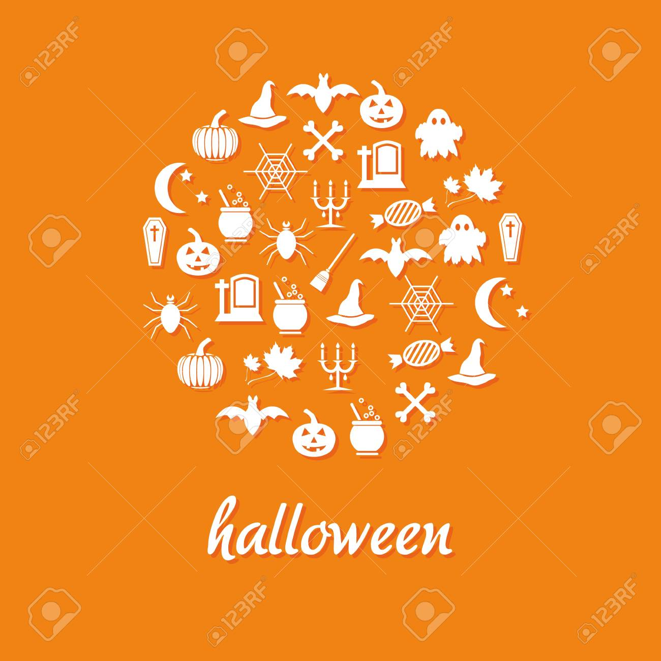 halloween icons in circle Stock Vector - 15073164