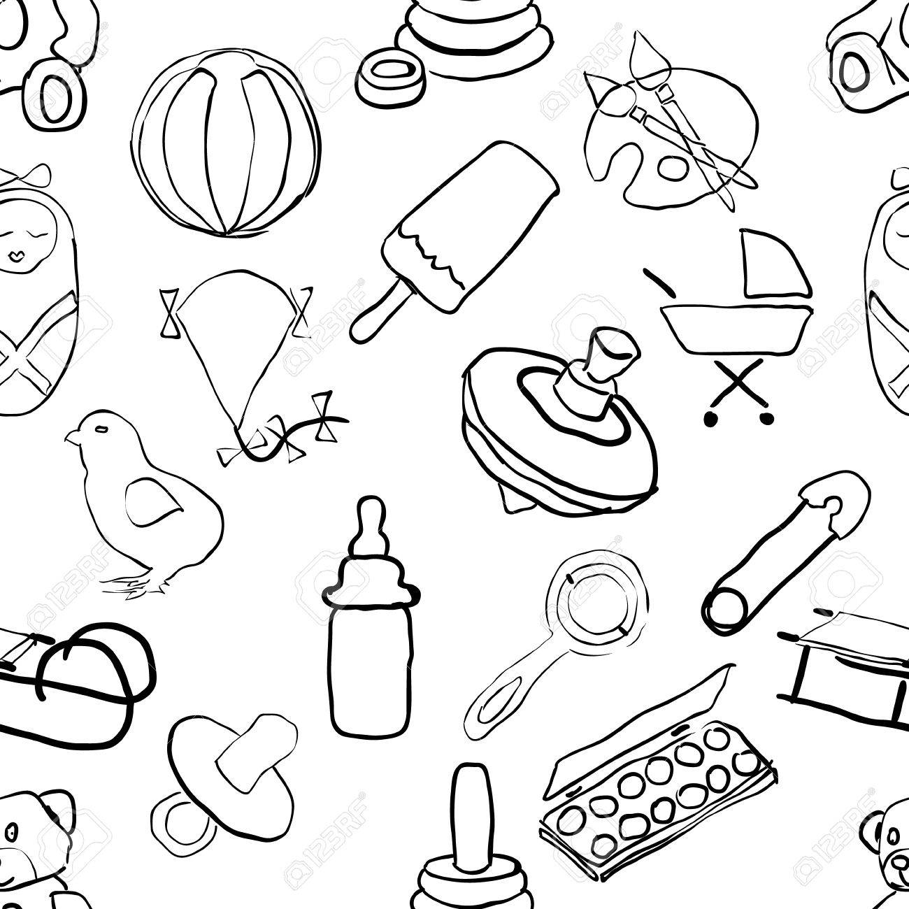 seamless doodle baby pattern - 15350725