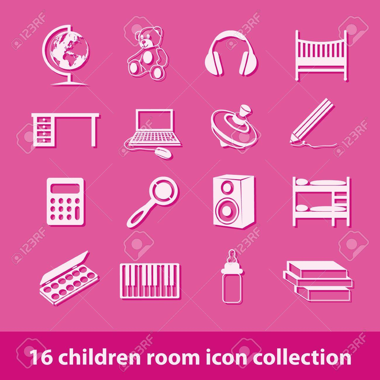 16 children room icon collection Stock Vector - 15682710