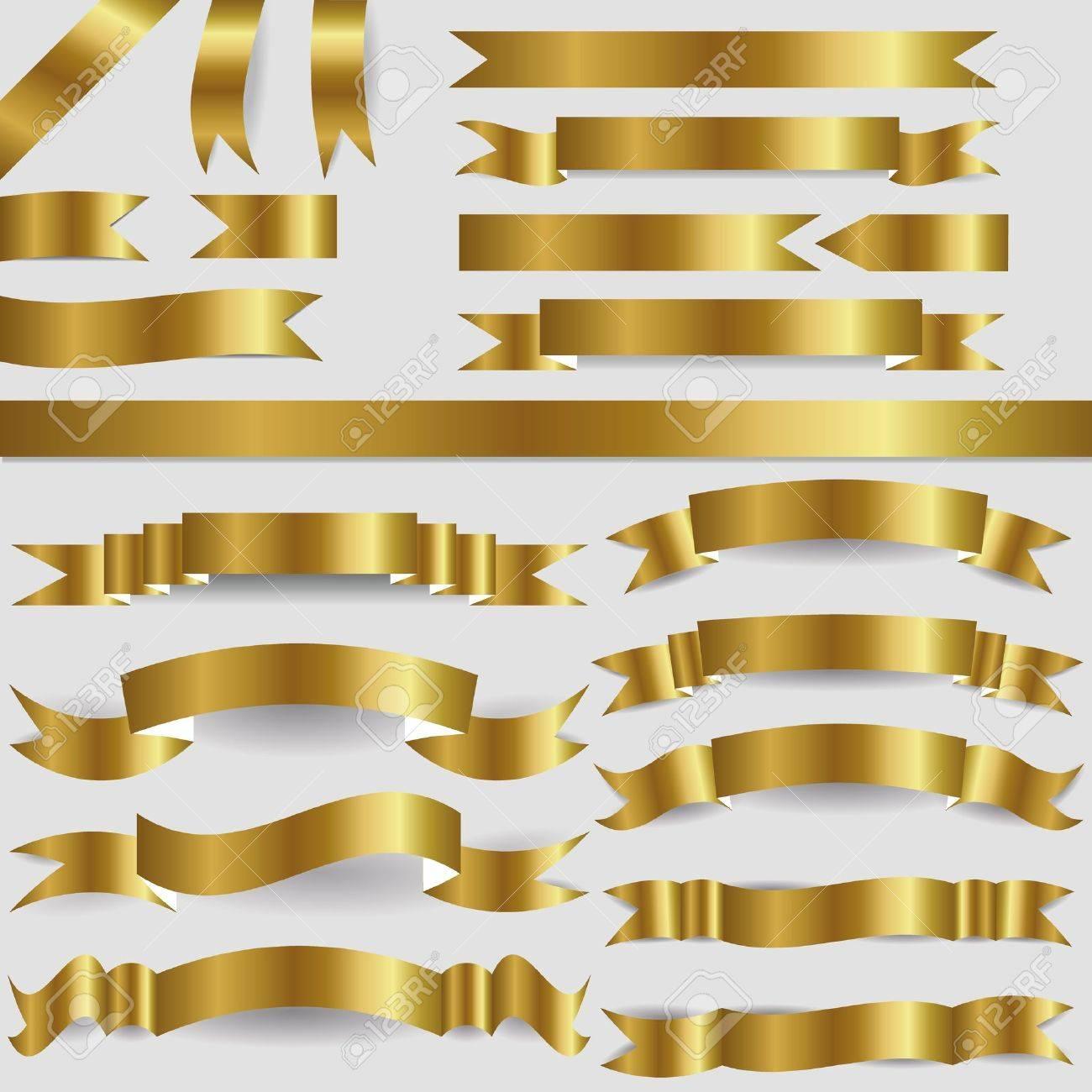 set of gold ribbons - 16246323