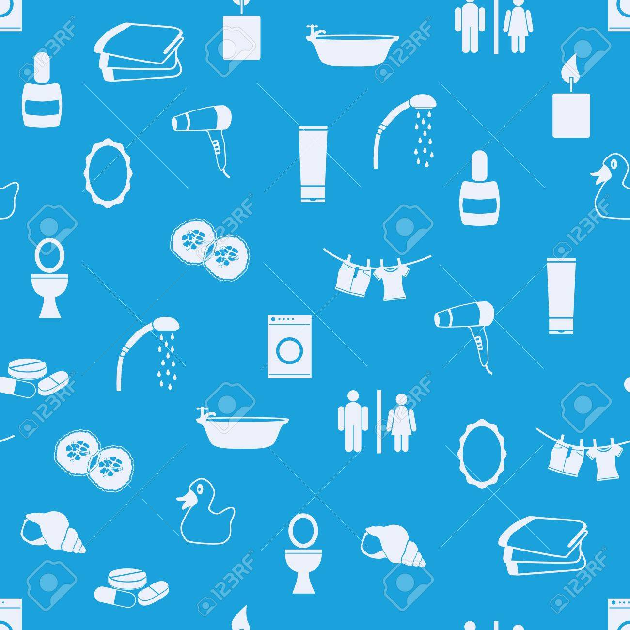 bathroom seamless pattern Stock Vector - 16463703
