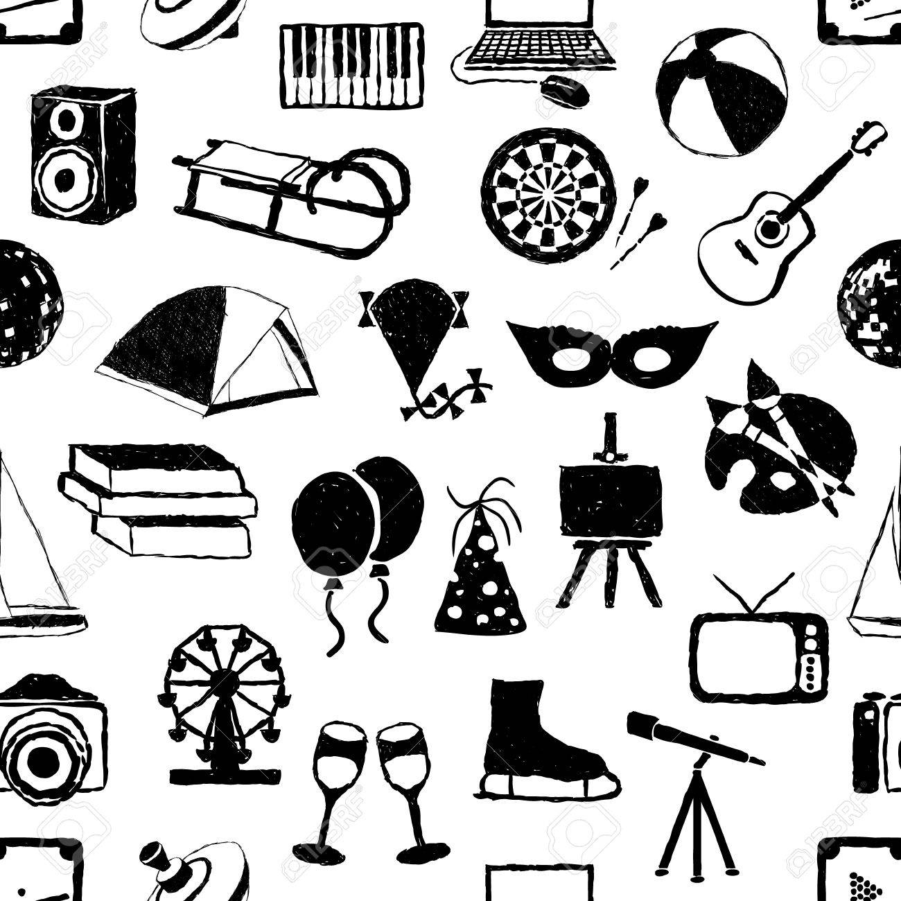 seamless doodle entertainment pattern Stock Vector - 16463739