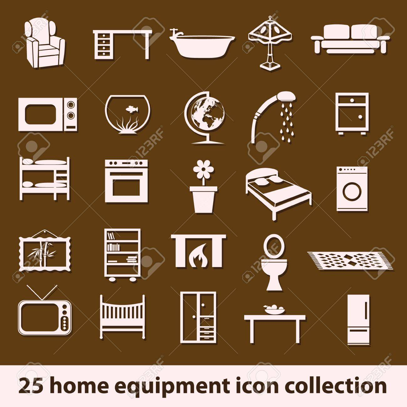 25 home equipment icon collection Stock Vector - 16463712