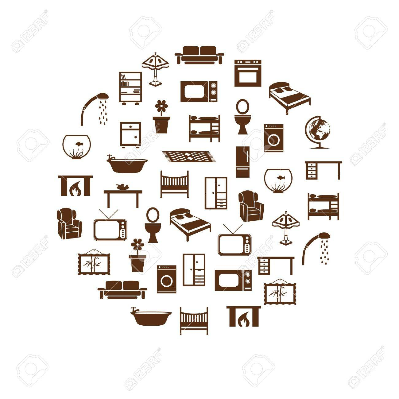 home equipment icons in circle - 17211679