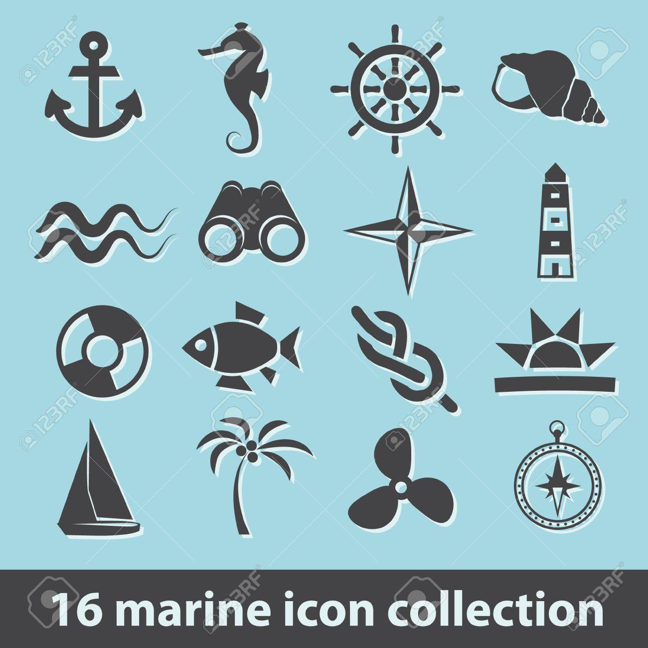 16 marine icon collection - 17761405