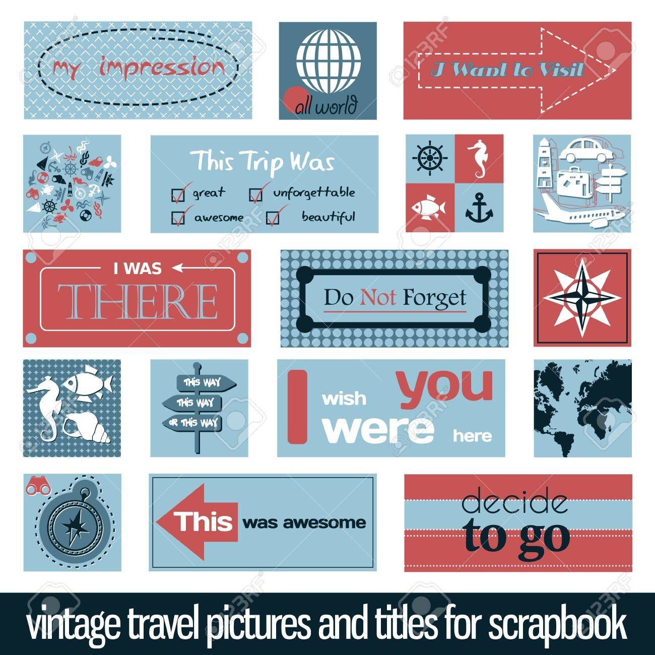 vintage travel pictures and titles for scrapbook Stock Vector - 19199972
