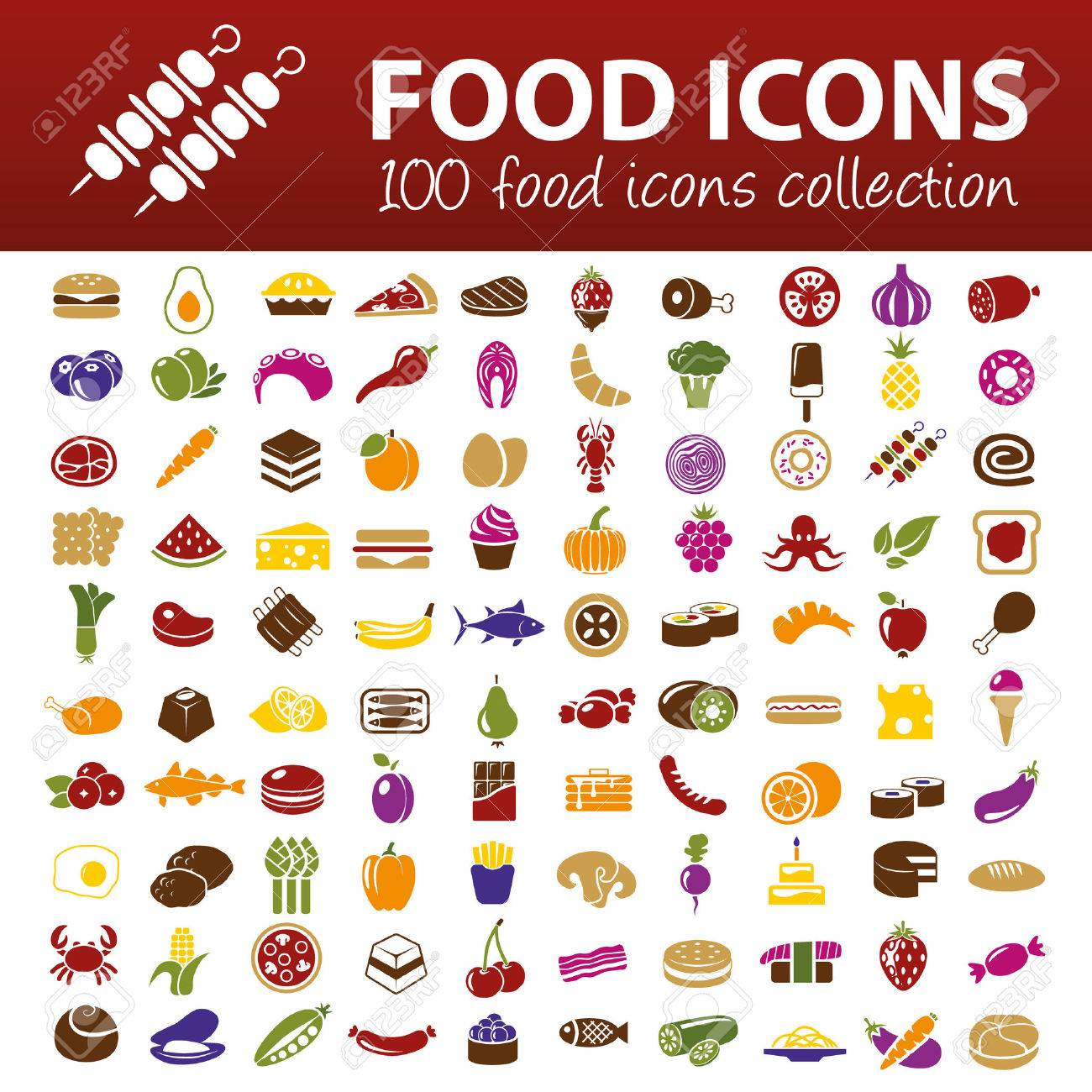 hundred food icons - 32516973