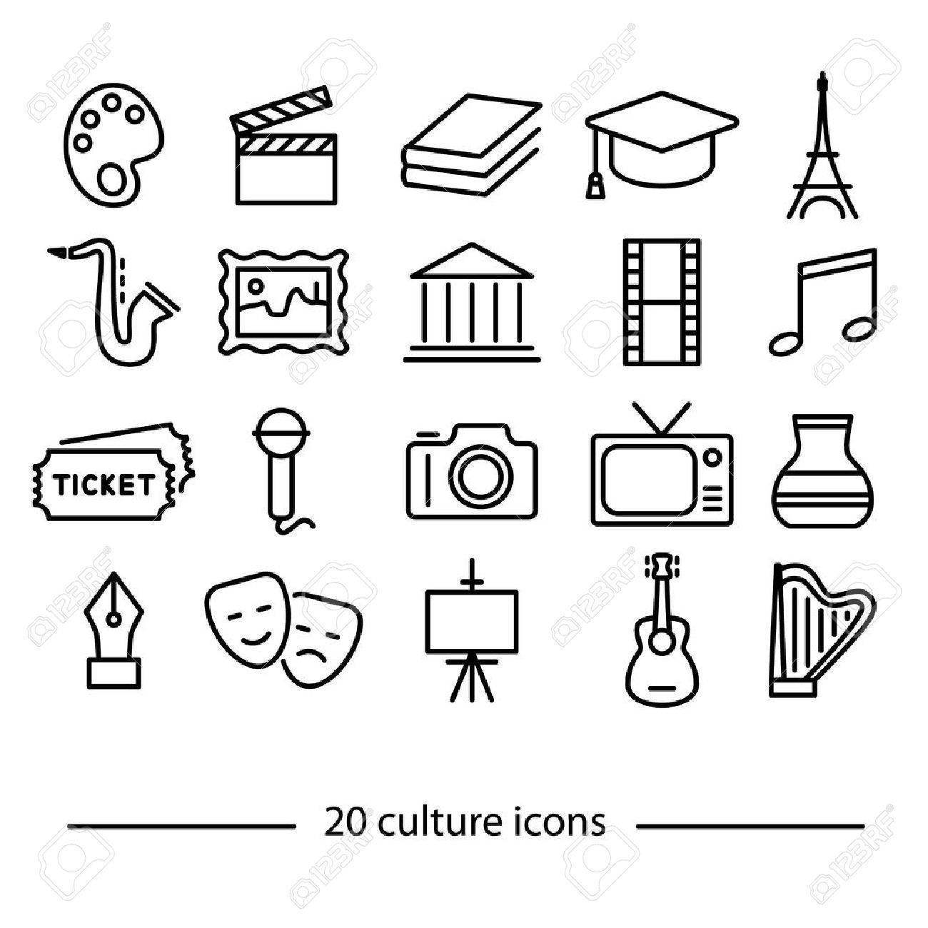 twenty culture line icons - 52459767