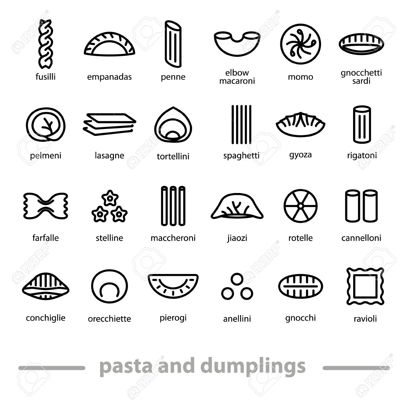 pasta and dumplings icons - 56605496