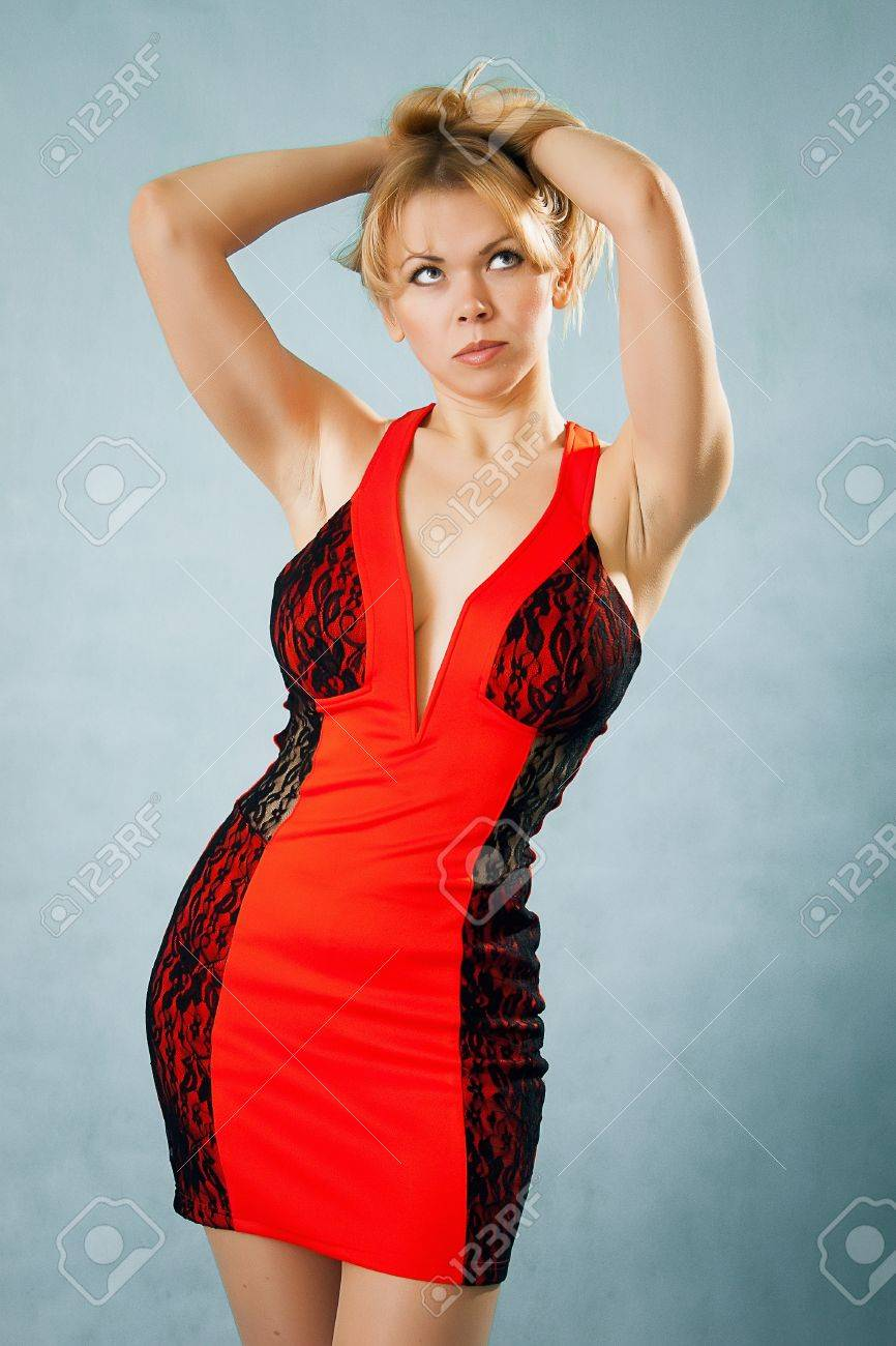 Sexy Blond Lady In Red Dress Stock Photo 15761459