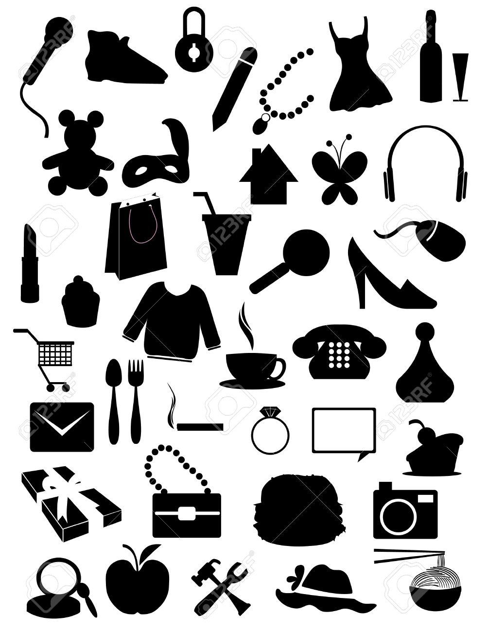 シルエット アイテム , ショッピング、web、アクセサリー オブジェクト 写真素材 , 6947304