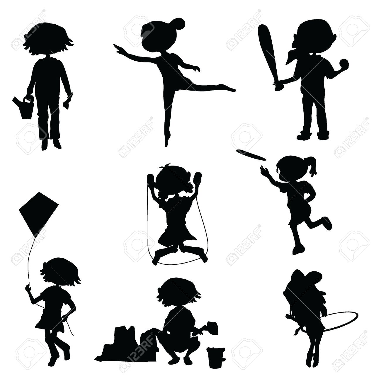 silhouettes cartoon kids for fun education and party royalty free