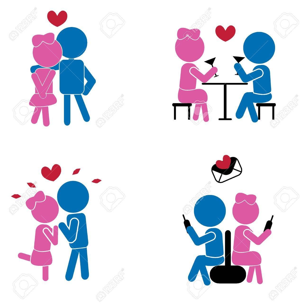 Girl Boy Sticks Love Concept As Symbols Signs Valentine Romance