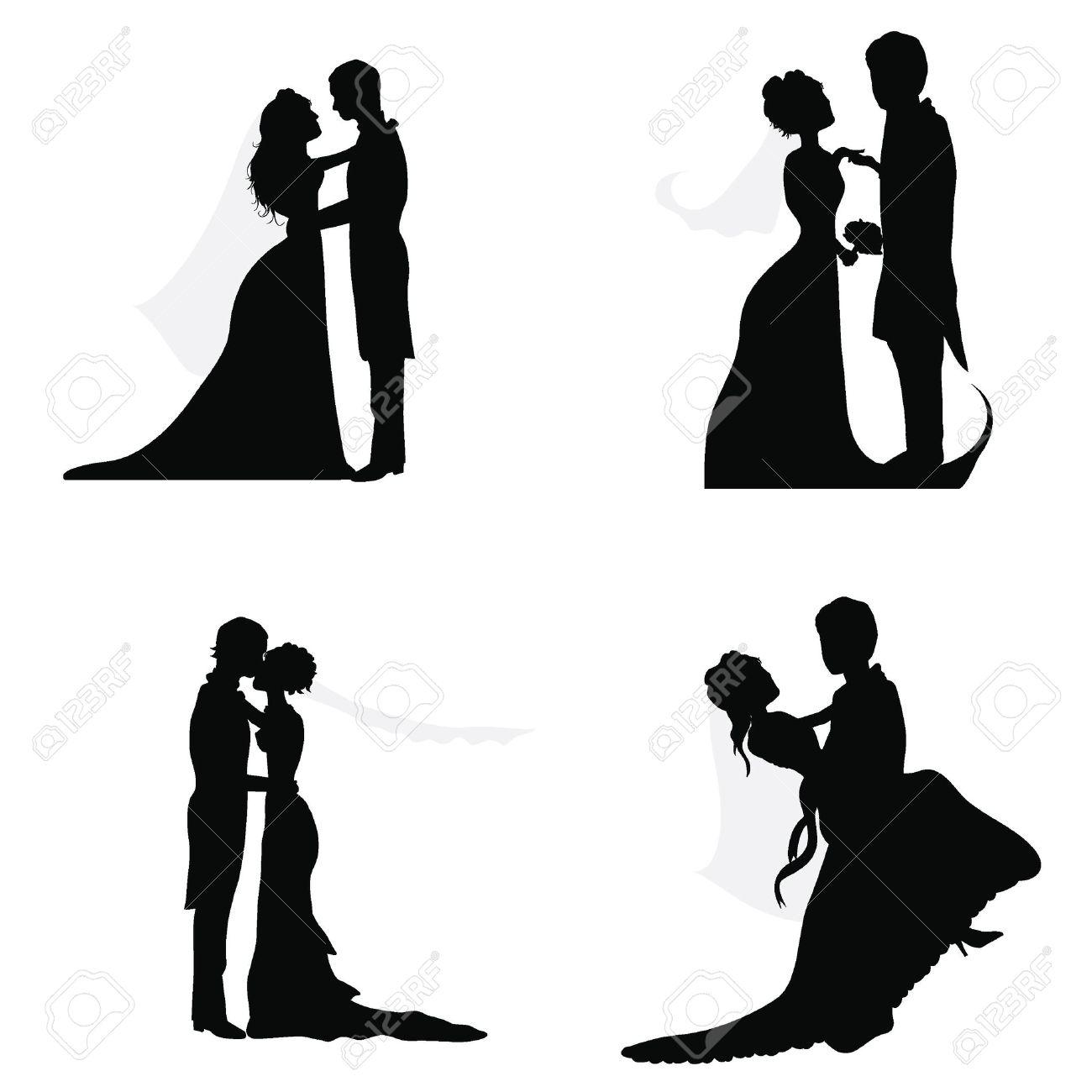Bruidspaar Silhouetten Voor Bruiloft, Gelegenheden, Feesten En ...