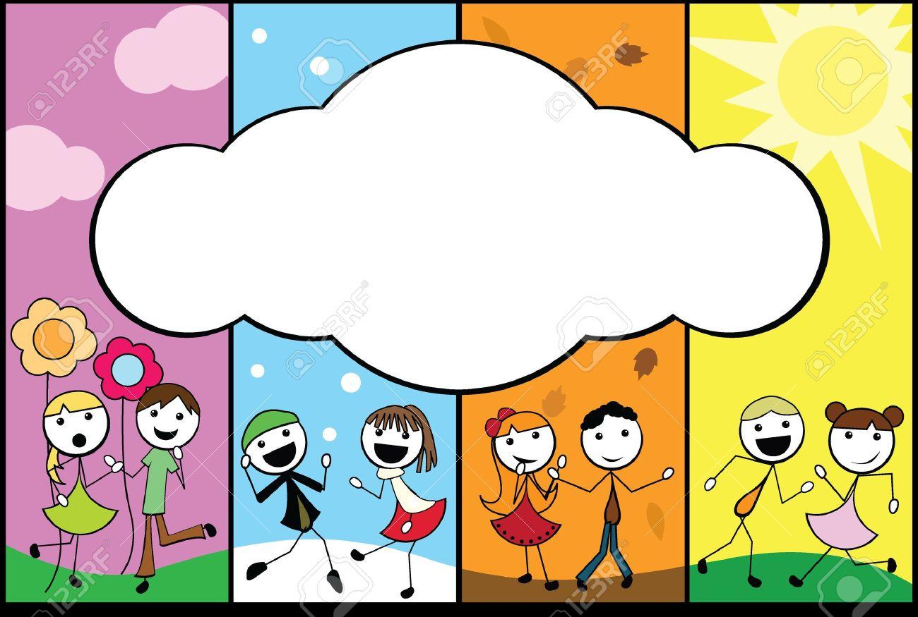 Cartoon Stick Children Background Four Seasons With Empty Banner Stock Vector