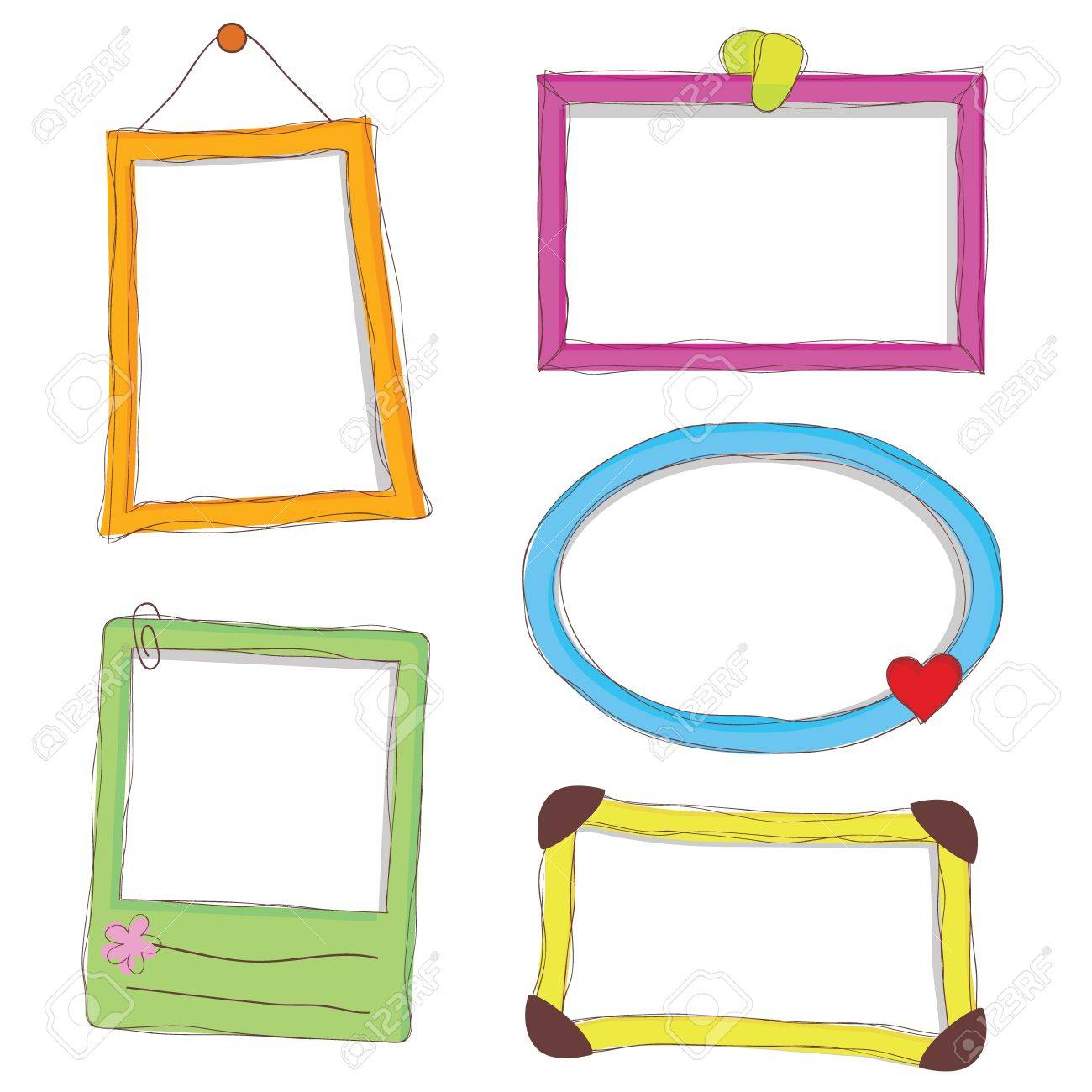 Fünf Doodle Frames Als Digitale Bilderrahmen Und Andere Lizenzfrei ...