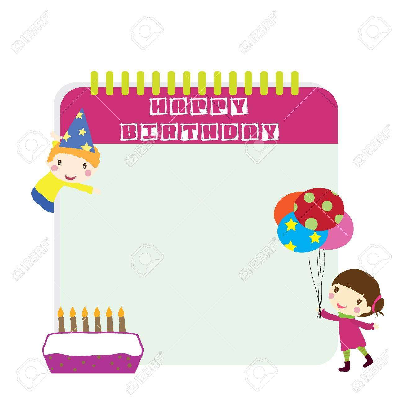 two children with birthday background Stock Vector - 17339936