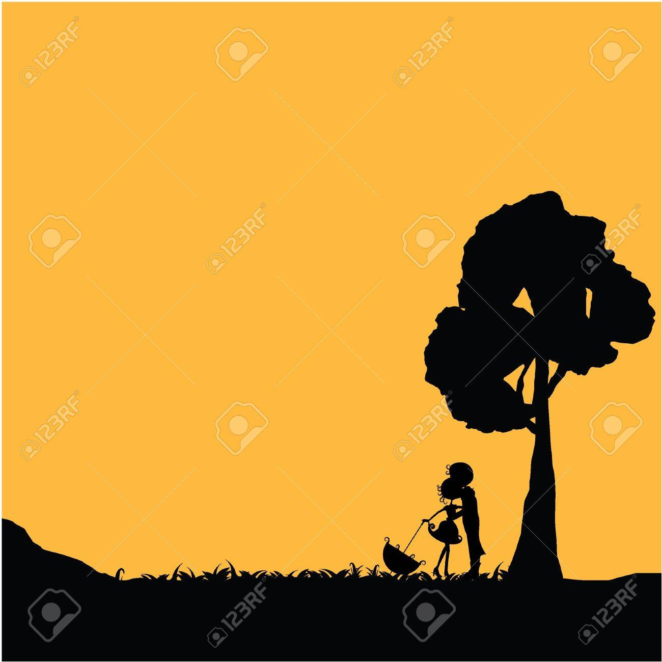silhouettes couple with tree and orange background Stock Vector - 17545492