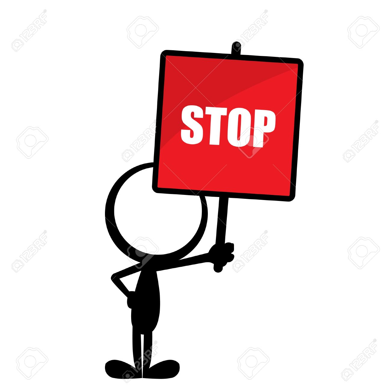 simple stick man with a red stop sign Stock Vector - 19663958