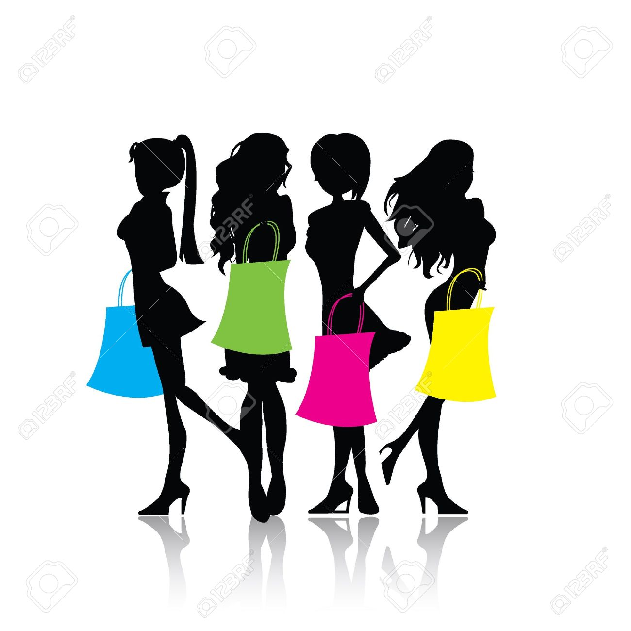 four isolated silhouette shopping girls with shopping bags Stock Vector - 20171002
