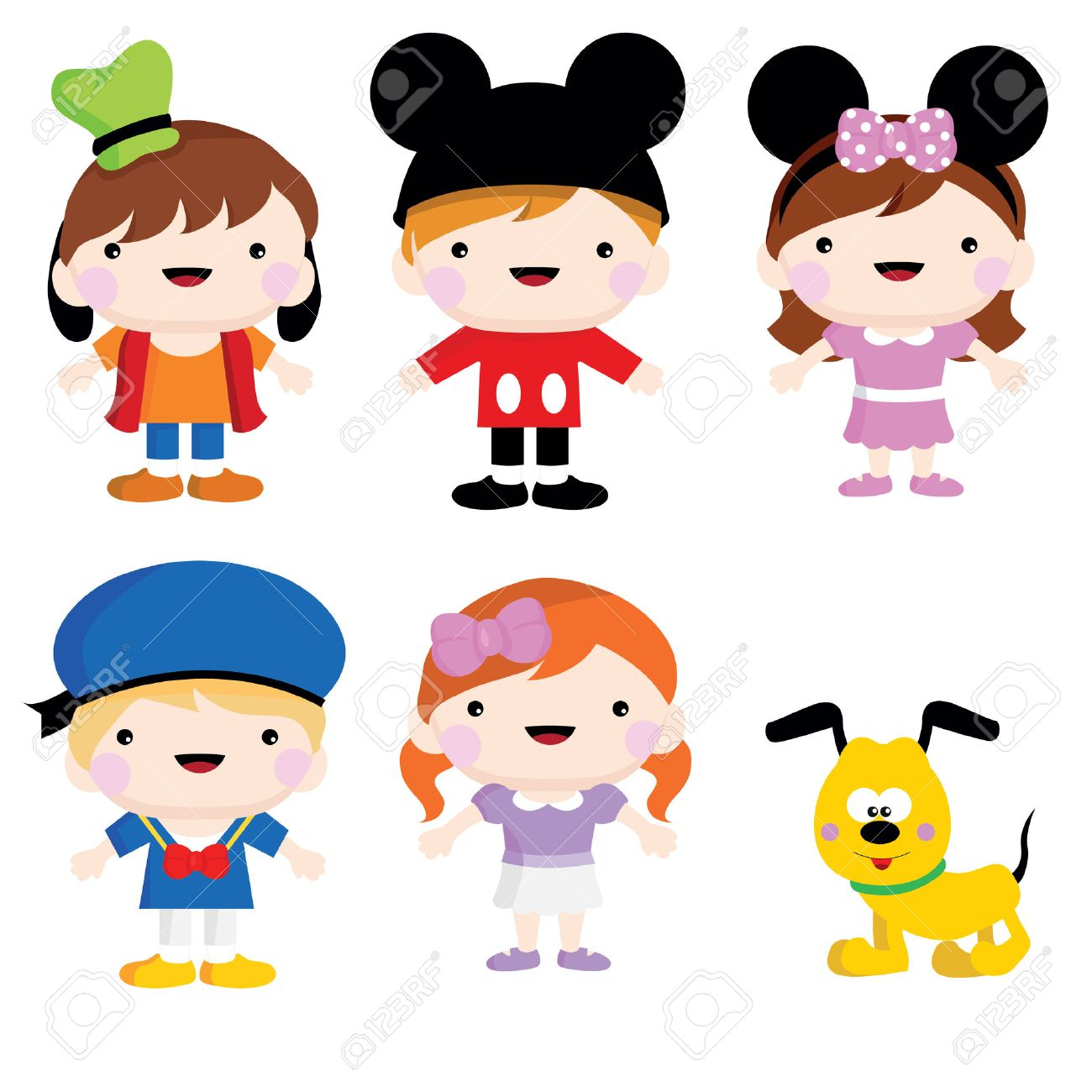 a set of mickey mouse children costume and party stock vector 49137248