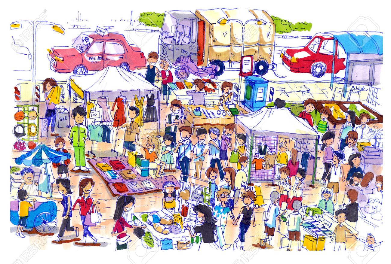 Lively and colorful flea market in Asia.Kind of flea or sunday market in asia well know shopping place for a good price and fine quality - 23045951