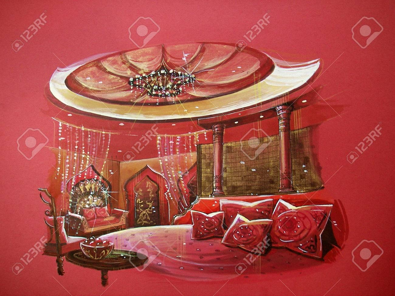 Red indischen stil schlafzimmer interieur mit runden bett indianer ...