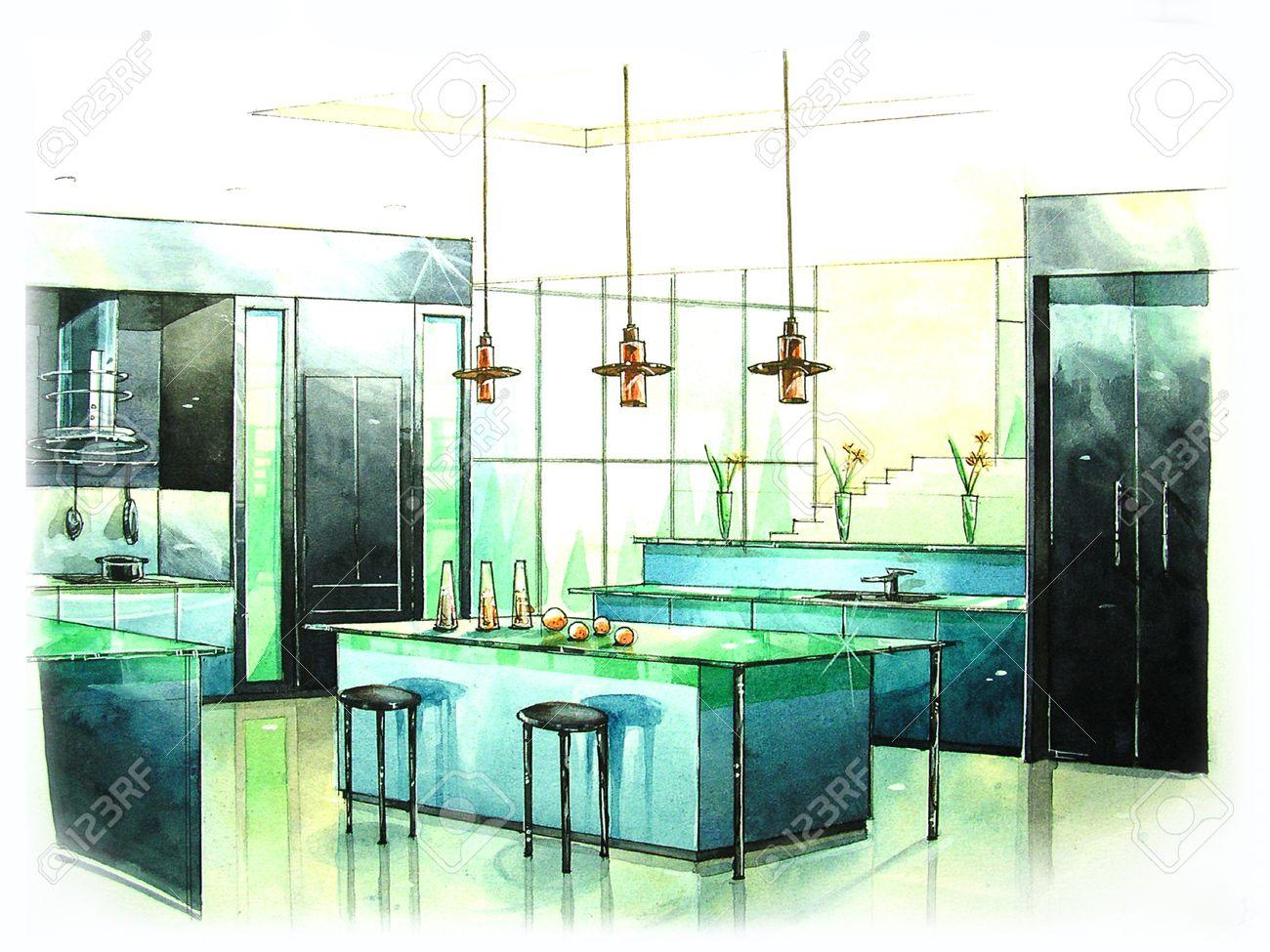 Cucina Moderna Arte Dalla Pittura Di Colore Di Acqua Foto Royalty ...