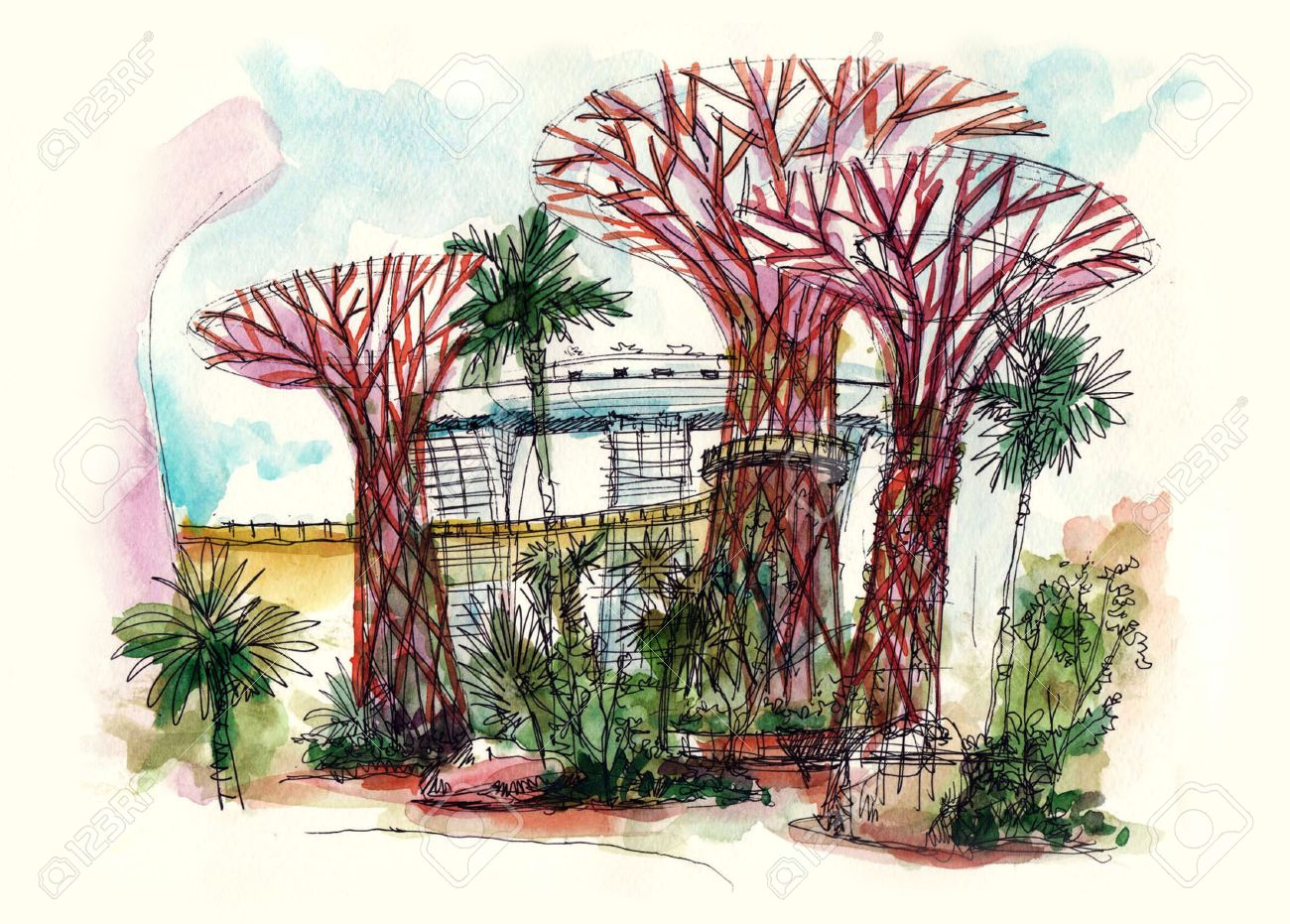 garden by the bay super trees at singapore painting - 48045628