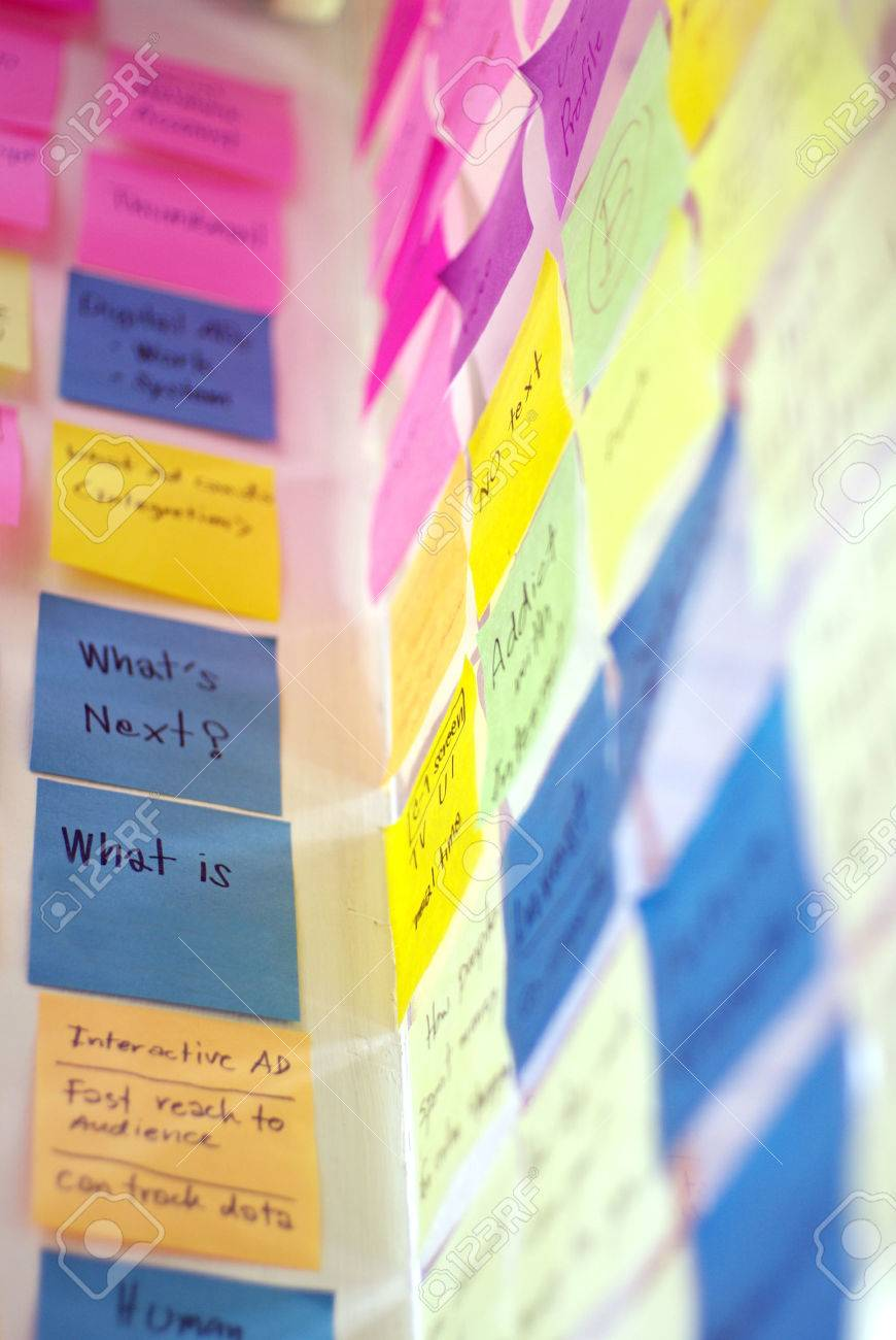 colorful post it on idea wall - 22967242