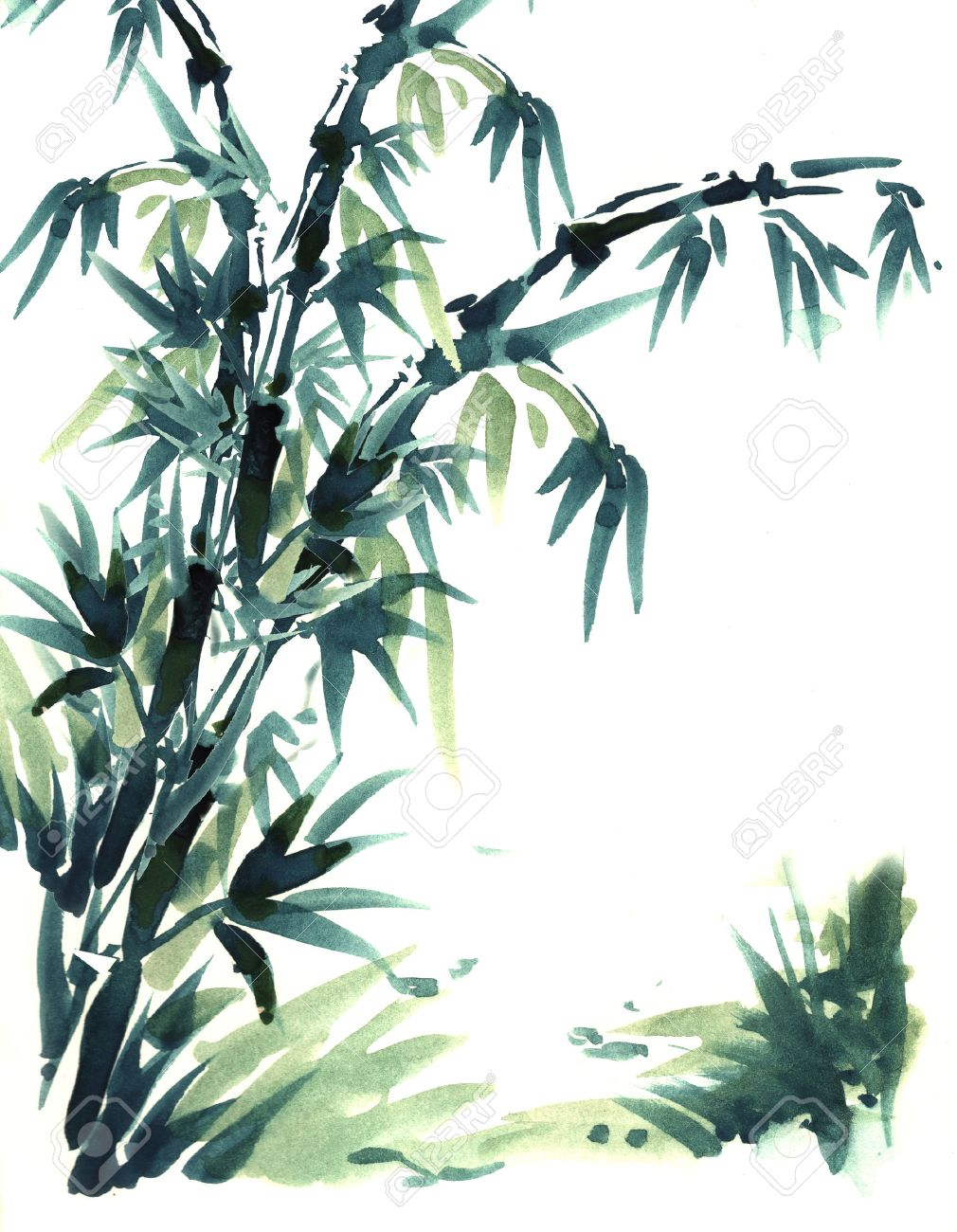 Chinese brush painting bamboo.Water color painting in chinese brush style. With beautiful black and green color of bamboo. - 24075275