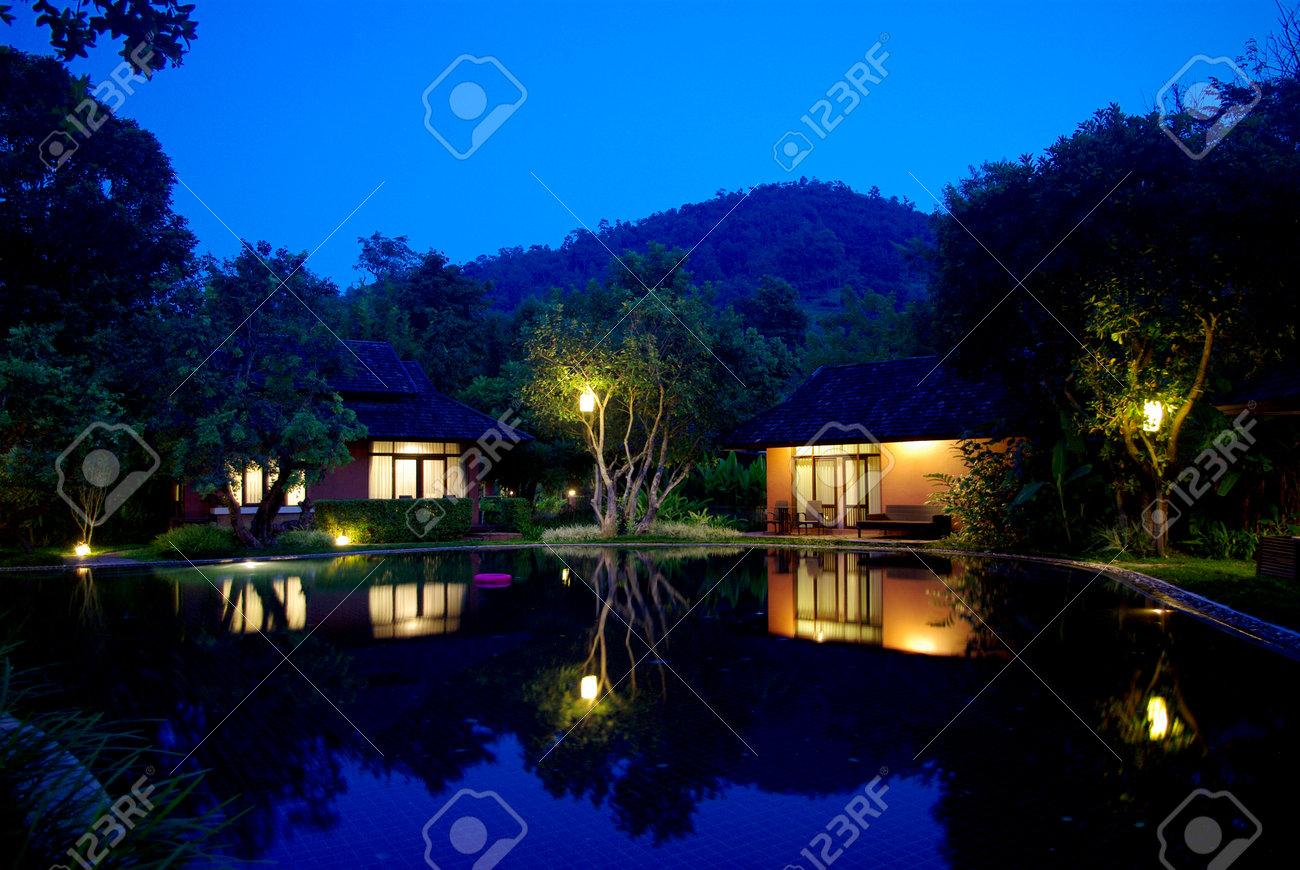beautiful tropical resort architecture lighting - 24075341