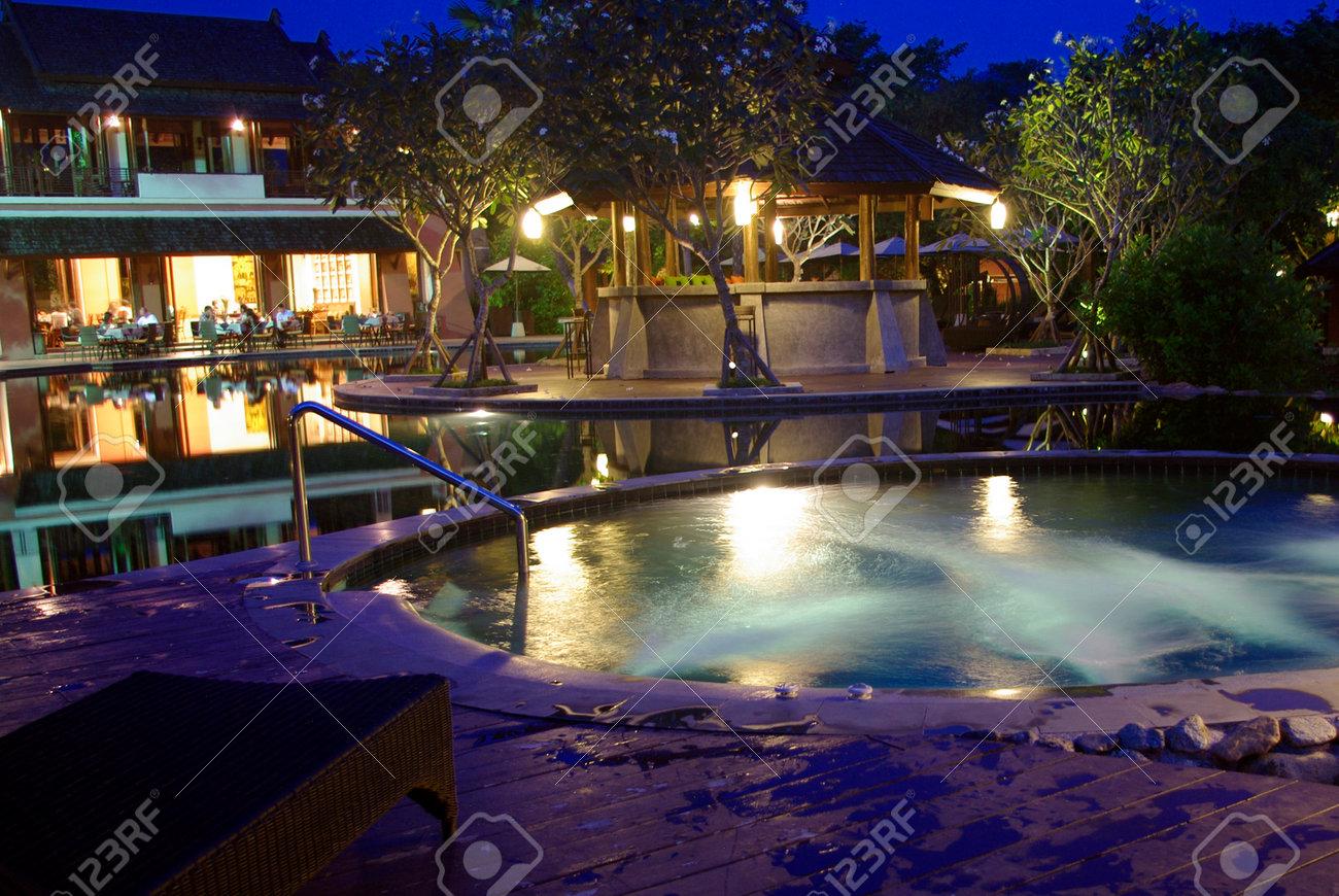beautiful tropical resort architecture lighting with jaguzzi - 24075342