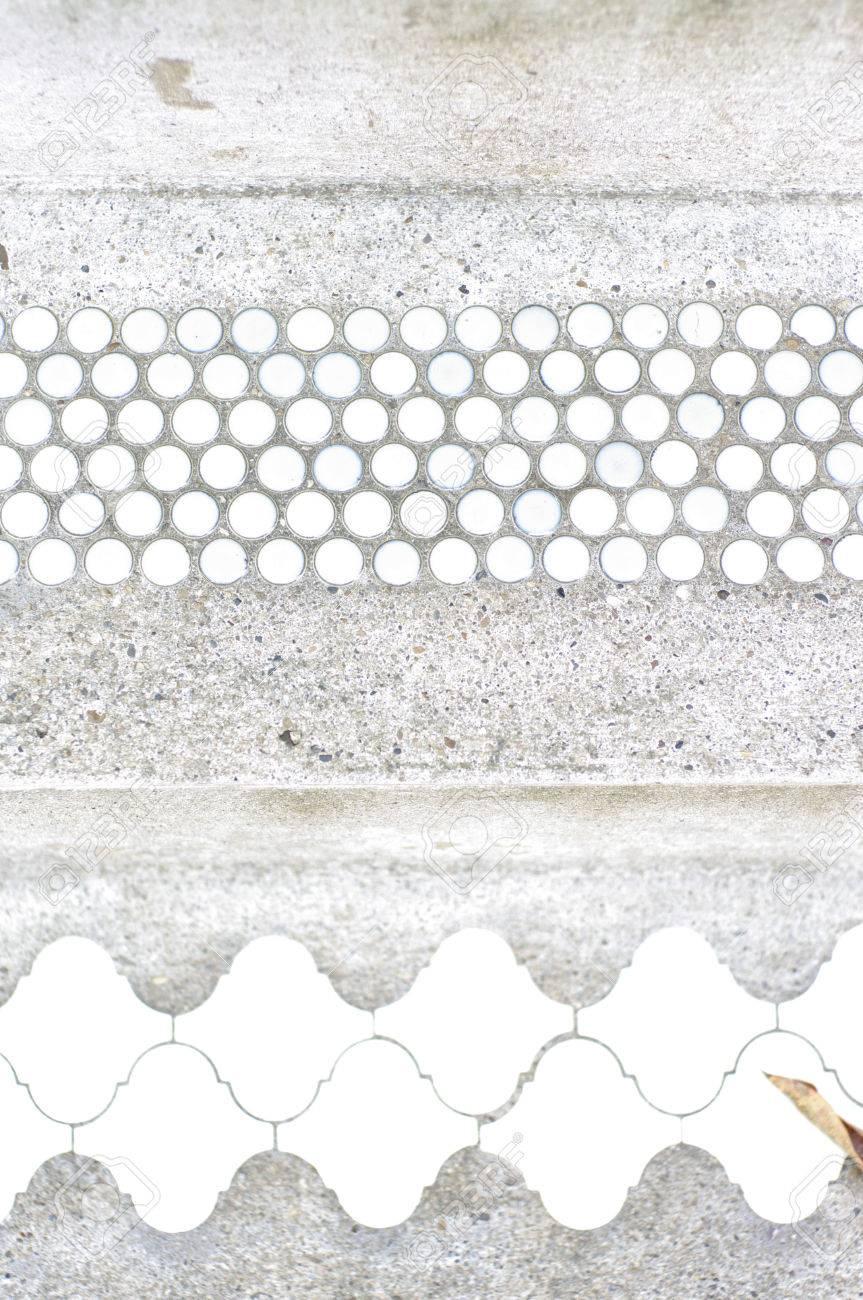 Weiss Und Blau Vintage Fliesen Auf Zementboden Lizenzfreie Fotos