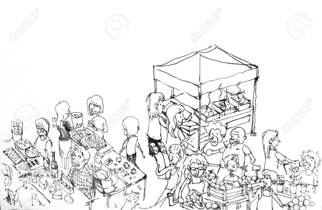 sunday farmer market cartoon people illustration - 28327583