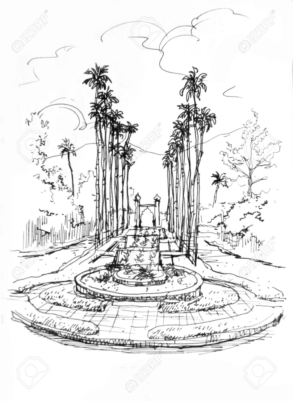 Fountain entrance with palm tree pencil drawing